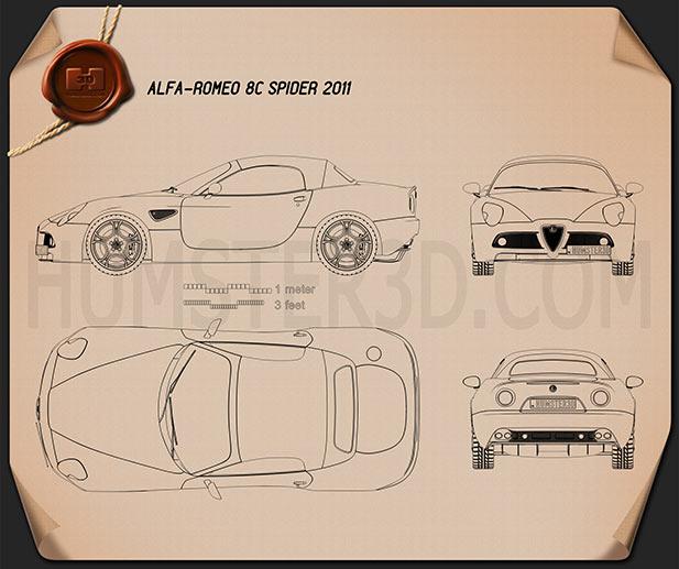 Alfa Romeo 8c Spider 2011 Clipart Image