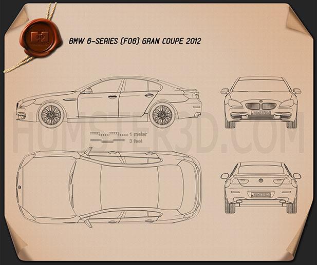 BMW 6 Series (F06) Gran Coupe 2012 car clipart
