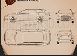 Ford Fusion wagon 2013 car clipart