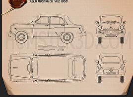 AZLK Moskvitch 402 1956 Clipart