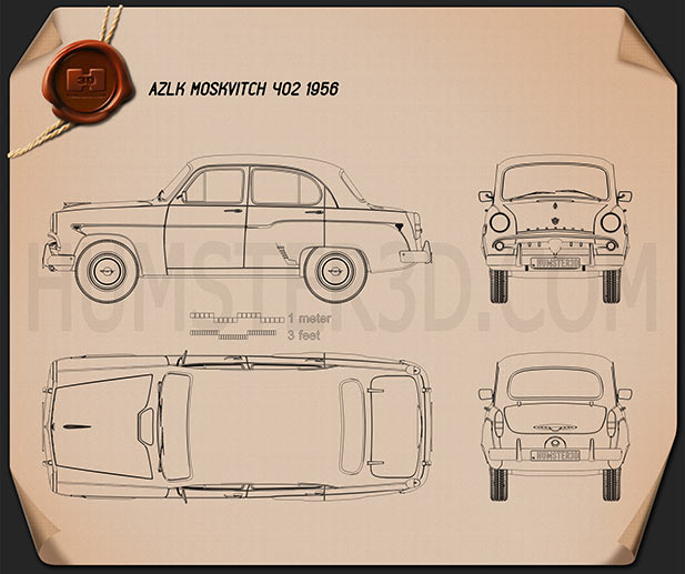 AZLK Moskvitch 402 1956 Clipart Image