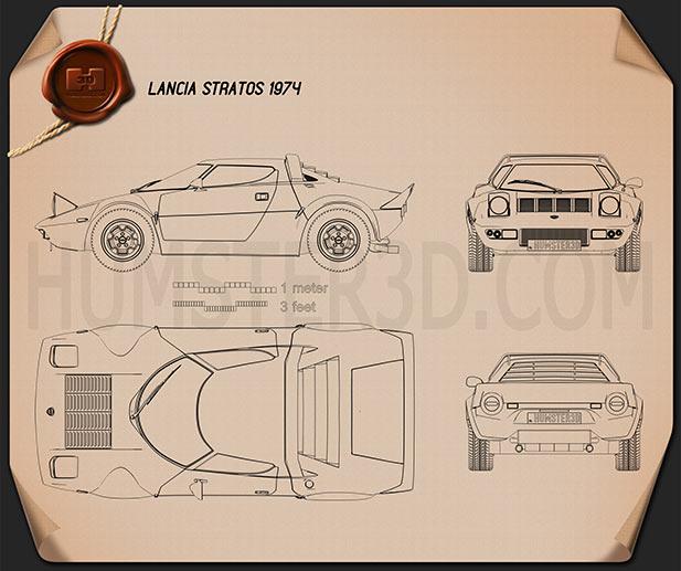 Lancia Stratos 1974 car clipart