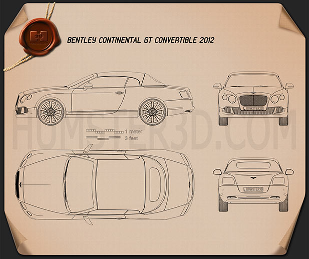 Bentley Continental GT Convertible 2012 Clipart Image