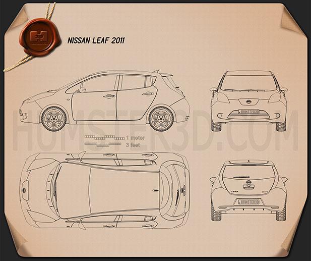 Nissan LEAF 2011 Clipart Image