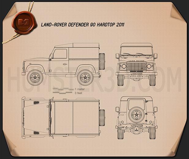 Land Rover Defender 90 hardtop 2011 car clipart
