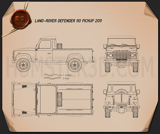 Land Rover Defender 110 pickup 2011 car clipart