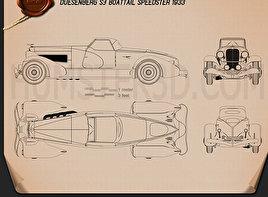 Duesenberg SJ Boattail Speedster 1933 car clipart