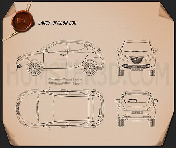 Lancia Ypsilon 2011 Clipart Image