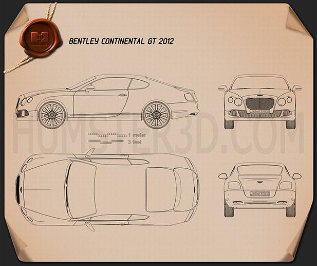 Bentley Continental GT 2012 car clipart