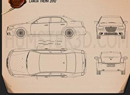 Lancia Thema sedan 2012 car clipart