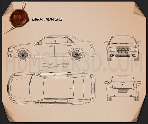 Lancia Thema sedan 2012 Clipart Image