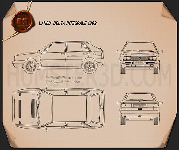 Lancia Delta Integrale 1992 Clipart Image