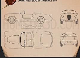 Lancia Aurelia GT convertible 1954 car clipart