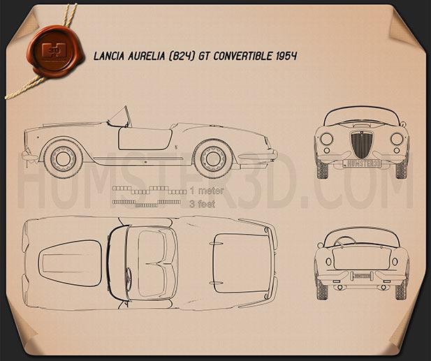 Lancia Aurelia GT Convertible 1954 Clipart Image