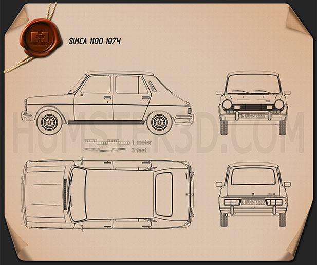 Simca 1100 1974 car clipart