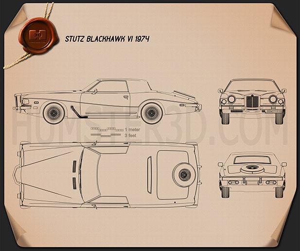 Stutz Blackhawk IV 1974 car clipart