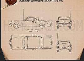 Studebaker Champion (Commander) Starlight Coupe 1953 car clipart