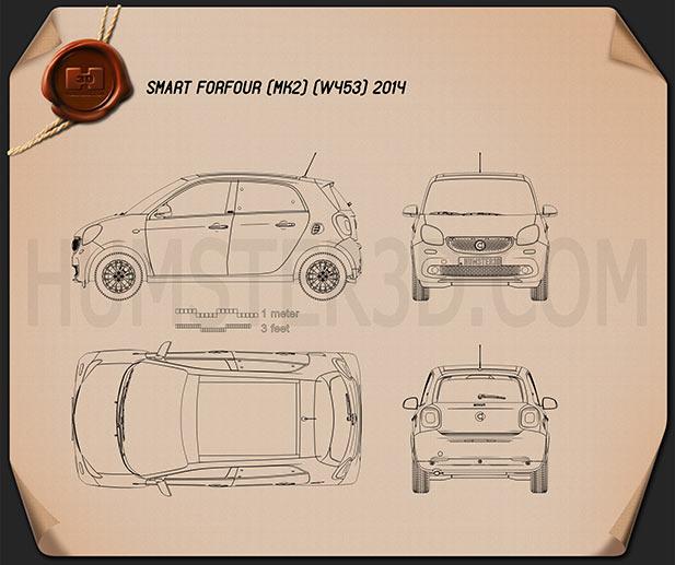 Smart Forfour 2014 car clipart