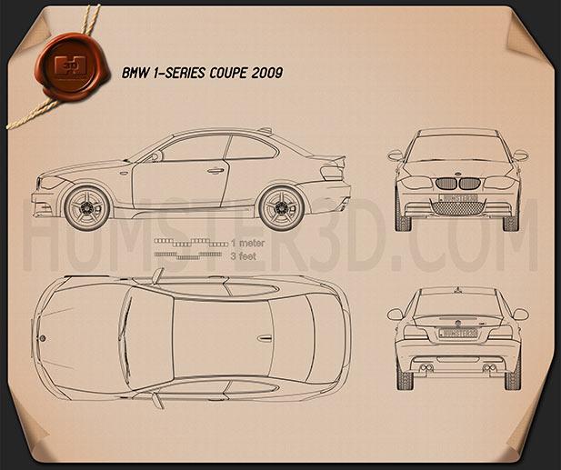 BMW 1 Series 3-door coupe 2009 Clipart Image