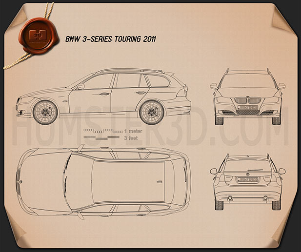 BMW 3 series Touring car clipart