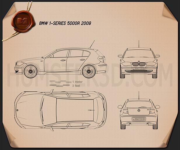 BMW 1 Series 5-door 2009 car clipart