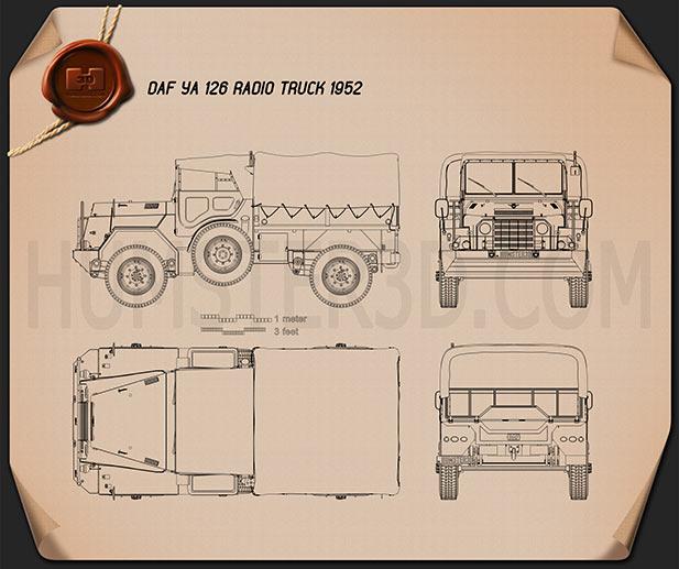 DAF YA-126 Radio Truck 1952 Clipart Image