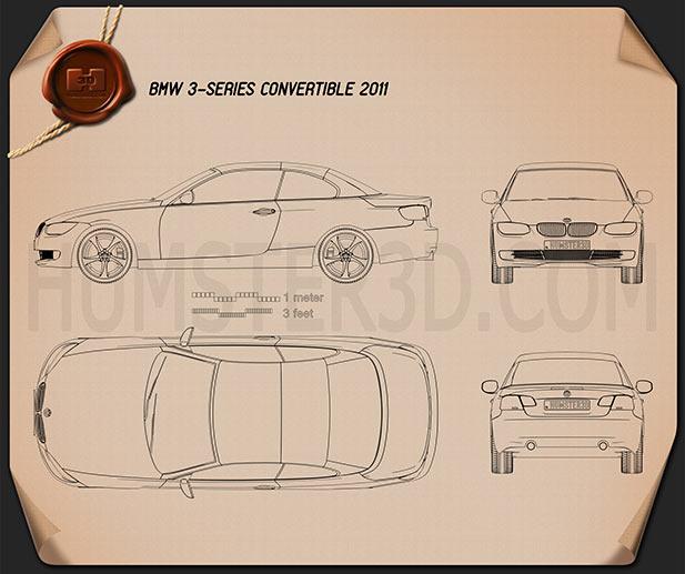 BMW 3 series Convertible 2011 car clipart