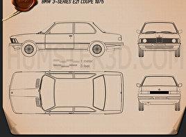 BMW 3 Series coupe (E21) 1975 car clipart