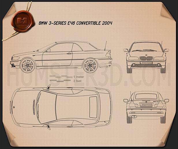 BMW 3 Series Convertible (E46) 2004 Clipart Image
