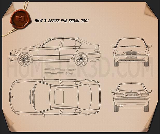 BMW 3 Series sedan (E46) 2004 car clipart