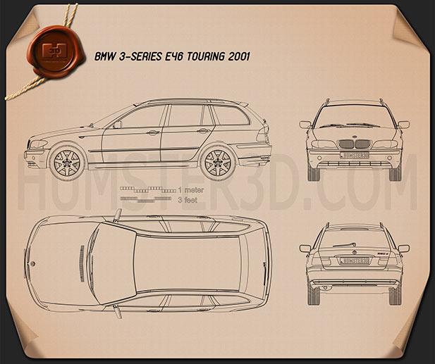 BMW 3 Series touring (E46) 2001 car clipart