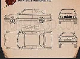 BMW 3 Series Cabrio (E30) 1990 car clipart