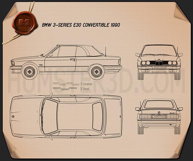 BMW 3 Series Convertible (E30) 1990 car clipart