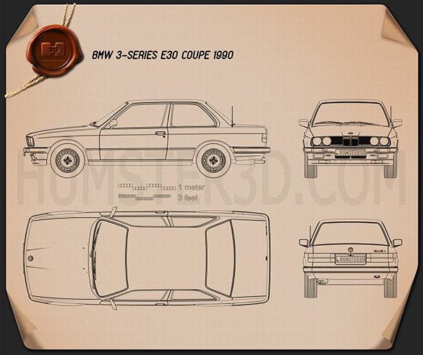 BMW 3 Series coupe (E30) 1990 car clipart