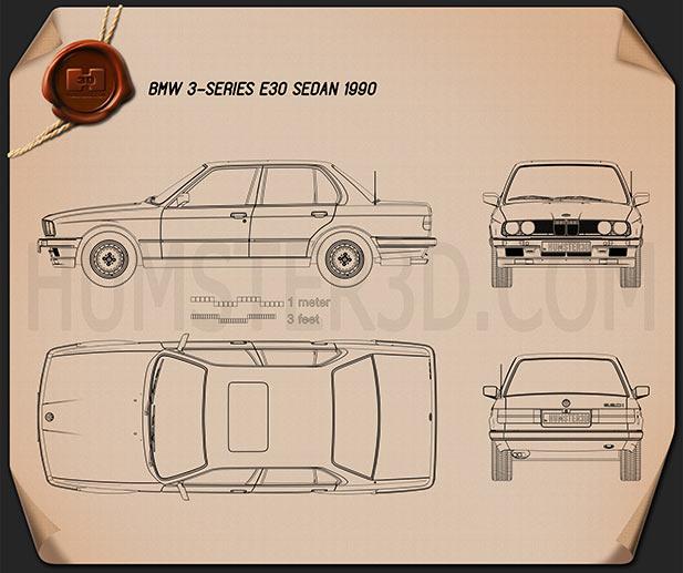 BMW 3 Series sedan (E30) 1990 car clipart