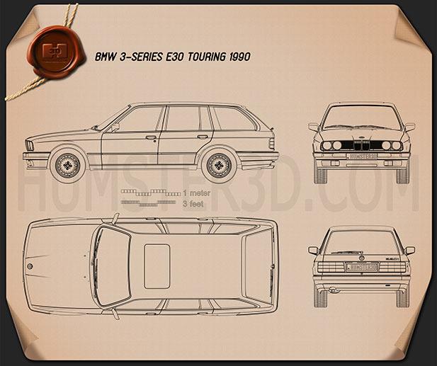 BMW 3 Series touring (E30) 1990 car clipart