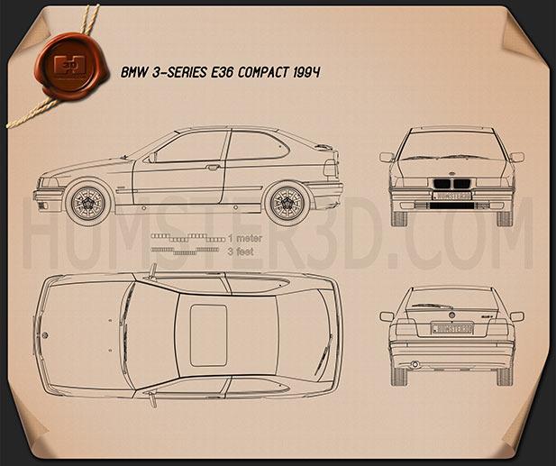 BMW 3 Series (E36) compact 1994 car clipart