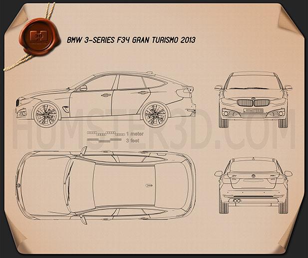 BMW 3 Series Gran Turismo (F34) 2013 Clipart Bild