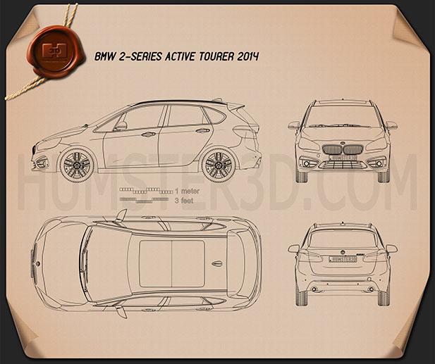 BMW 2 Series Active Tourer (F45) 2014 Clipart Bild