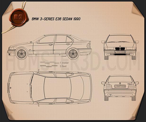 BMW 3 Series (E36) sedan 1994 car clipart