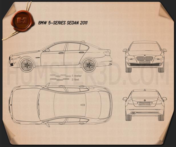 BMW 5 series sedan 2011 car clipart