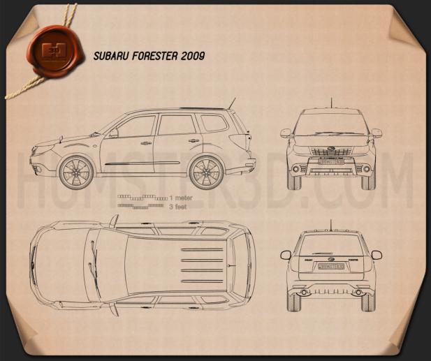 Subaru Forester 2009 Clipart Image