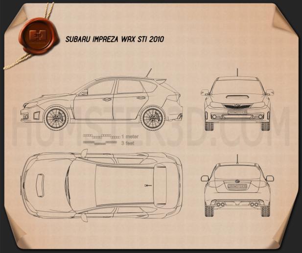 Subaru Impreza WRX STI 2010 car clipart