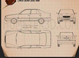 Lancia Dedra (835) 1989 car clipart