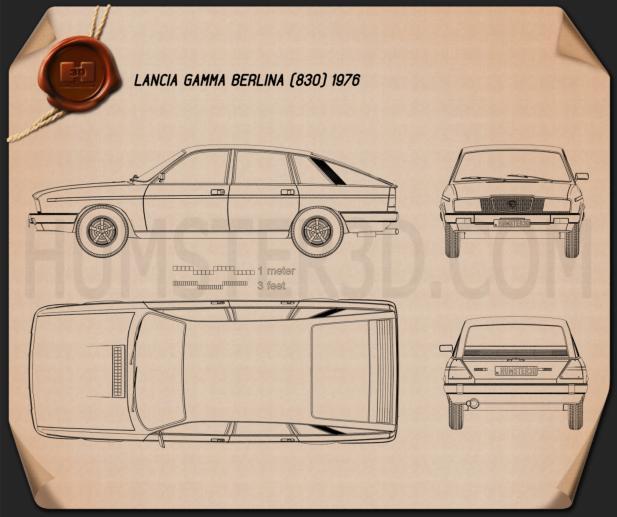 Lancia Gamma Berlina 1976 Clipart Image