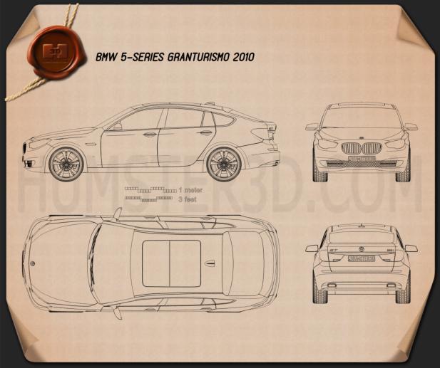 BMW 5 series Gran Turismo 2011 Clipart Image