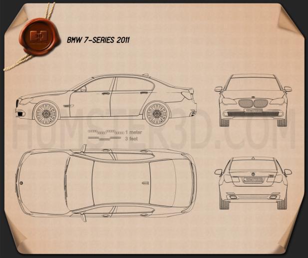 BMW 7 Series Sedan 2011 car clipart