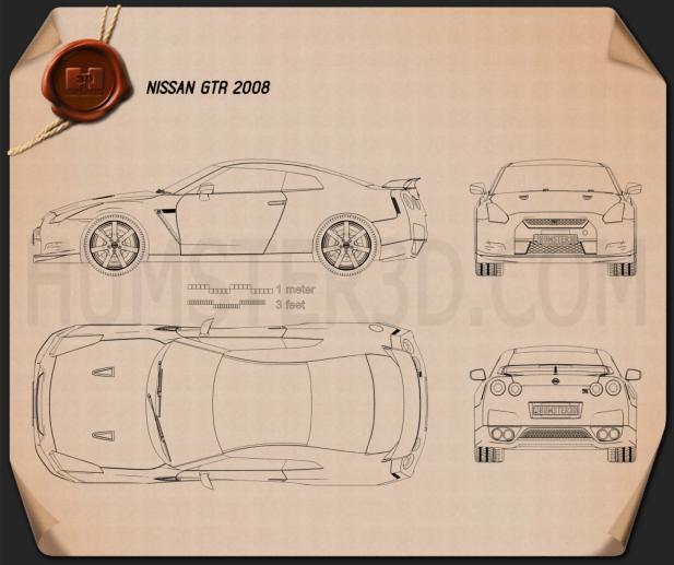 Nissan GT-R 2008 Clipart Image