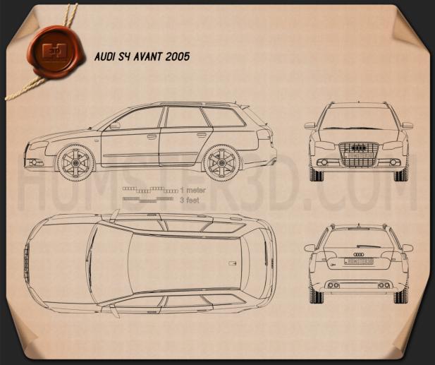 Audi S4 Avant 2005 Clipart Image