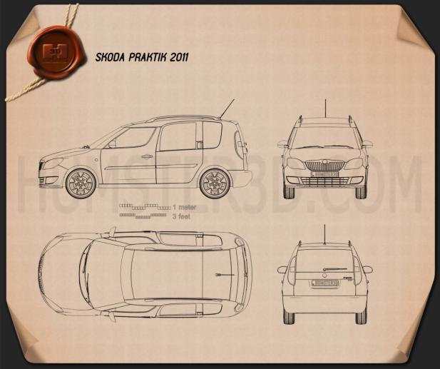 Skoda Praktik 2011 Clipart Image